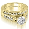 1.05 cttw. 14K Yellow Gold Antique Cathedral Round Cut Diamond Bridal Set - Thumbnail 0
