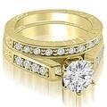 1.30 cttw. 14K Yellow Gold Antique Cathedral Round Cut Diamond Bridal Set - Thumbnail 0