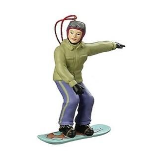 Woman Snowboarding On Blue Board Winter Sports Christmas Ornament