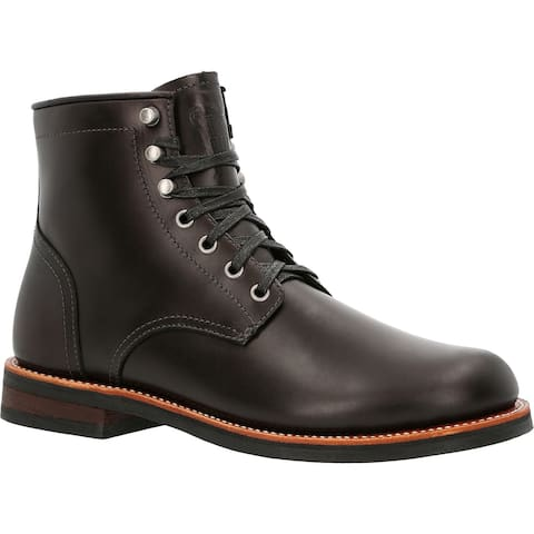 """Men's Black 6"""" Stacked Leather Boot"""