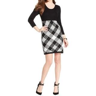 Sandra Darren Womens Sweatshirt Dress Ribbed Knit Pattern - m