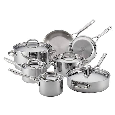 Anolon Tri-Ply Clad Stainless Steel 12-Piece Cookware Set