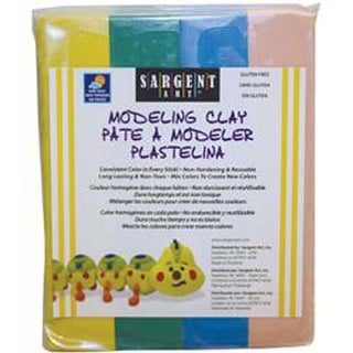 Yellow; Green; Blue & Pink - Non-Hardening Modeling Clay 1/4Lb Sticks 4/Pkg
