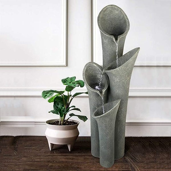 Faux Stone Patio Water Fountain Bell 4-Tier Cascading Floor Fountain. Opens flyout.