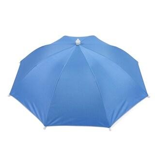Unique Bargains Outdoor Beach Rain Sun Shade Blue Umbrella Hat 40cm Long