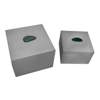 Pair of Glossy White Decorative Boxes With Blue Agate Accents