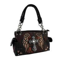 Moonlight Camo Angel Wing Rhinestone Cross Western Concealed Carry Handbag