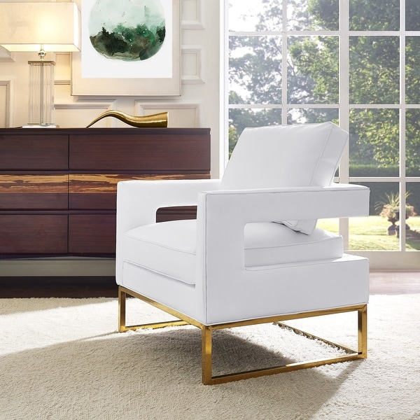 Avery White Vegan Leather Chair. Opens flyout.