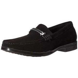 Stacy Adams Men Nesbit Moc Toe Braided Strap Slip-On Loafer, Black Suede, 11.5 M Us