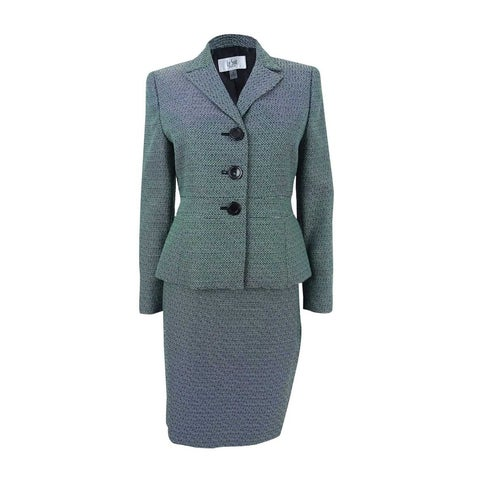 Le Suit Women's Petite Three-Button Tweed Skirt Suit - emerald multi