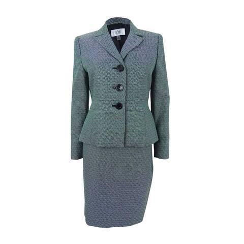 Le Suit Women's Petite Three-Button Tweed Skirt Suit