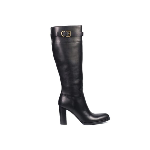 643878e7 Shop Car Shoe By Prada Black Leather Buckled Knee High Boots - Free ...