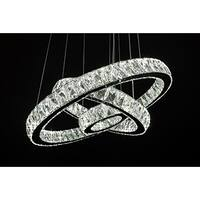 Crystal Elipse 3 Ring Modern / Contemporary LED Chandelier - Chrome