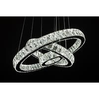 Crystal Elipse 3 Ring Modern/Contemporary LED Chandelier - Chrome