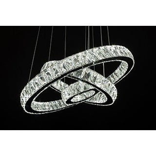 Modern Crystal Elipse 3 Ring LED Chandelier