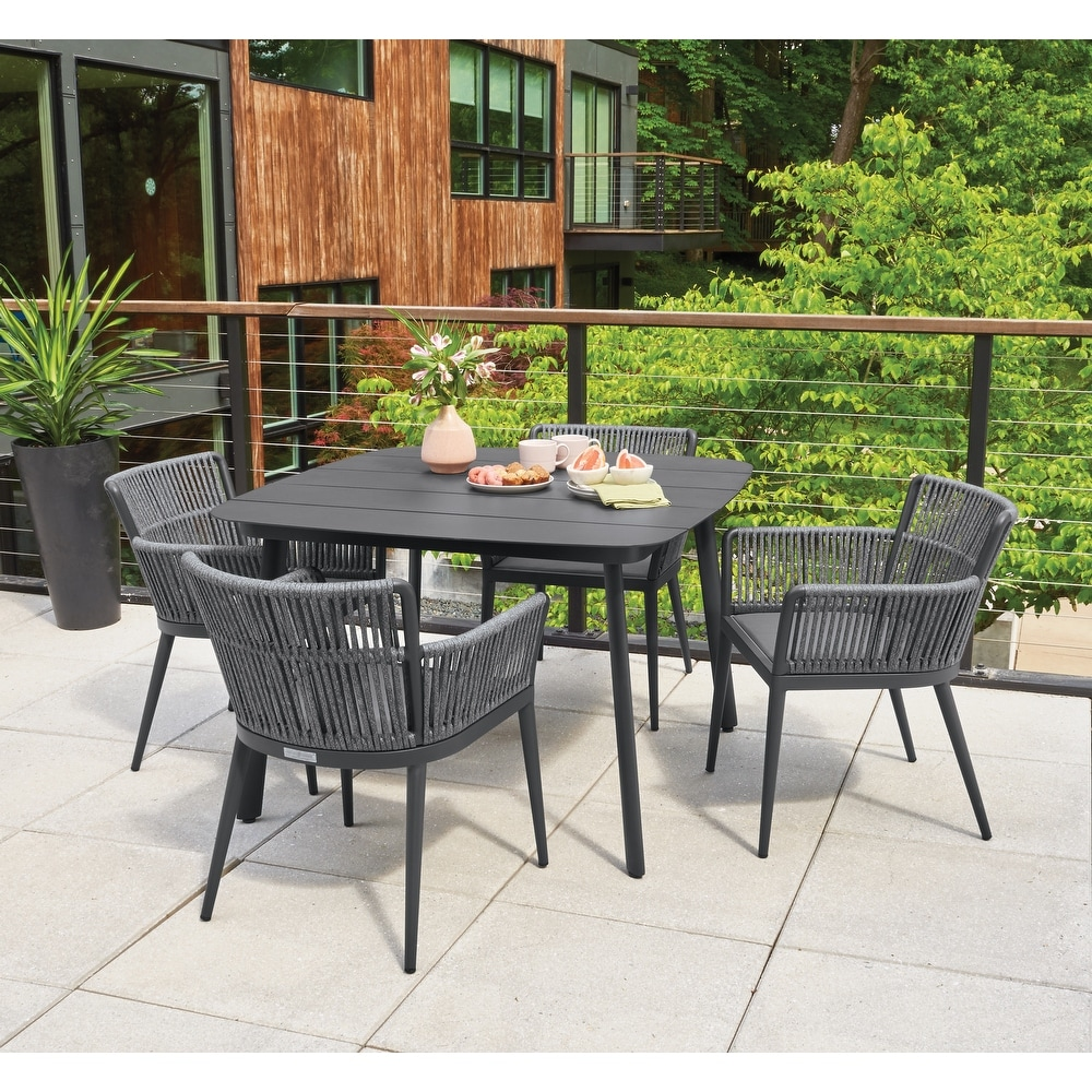Havenside Homeenna 5 Piece Carbon And Pewter Dining Table Set By Havenside Home Black 5 Piece Sets Dailymail