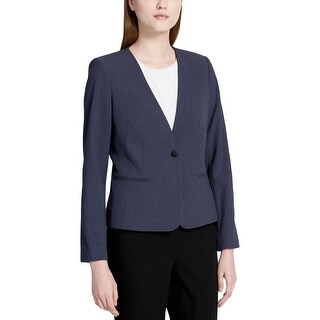 Calvin Klein Womens Petites One-Button Blazer Cropped Professional