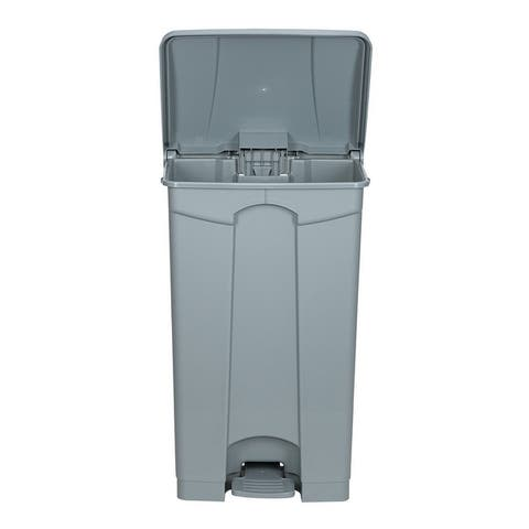 Plastic Step-On Trash Can , Grey, Hands-free Disposal, 23-Gallon