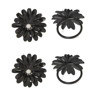 Flower Napkin Rings Set of 8 (Black Pearl)