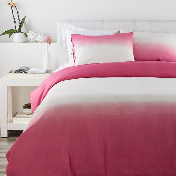 Rosy Pink Fading to Cream Ombre Fun Cotton Decorative Twin Duvet Set