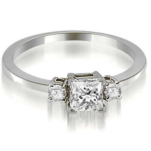 0.60 cttw. 14K White Gold Princess Cut Diamond Engagement Ring