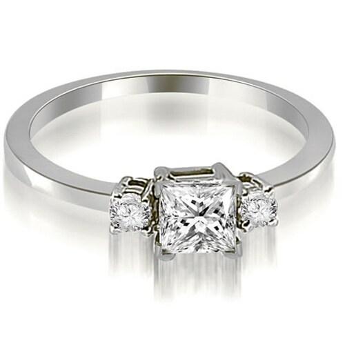 0.85 cttw. 14K White Gold Princess Cut Diamond Engagement Ring