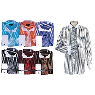Men's Polka Dot Cutaway Collar Shirt Tie Hanky Cufflink Set