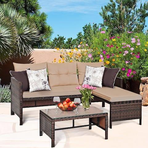 Costway 3PC Patio Sofa Set Outdoor Sectional Conversation Set Rattan