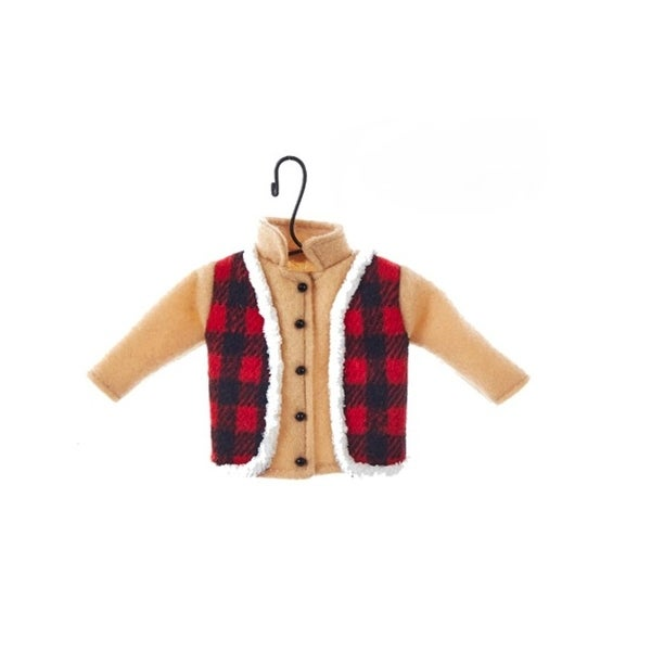 """4.25"""" Country Cabin Tan Shirt with Flannel Vest on Hanger Fabric Christmas Ornament"""