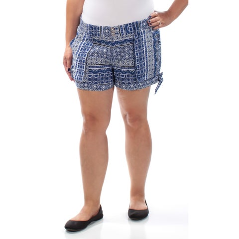Womens Blue Printed Casual Short Size XL