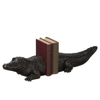 """25.5"""" Decorative Antique-Bronze Textured Alligator Bookend Pair"""