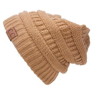 Gravity Threads CC Knit Soft Stretch Beanie Cap, Beige