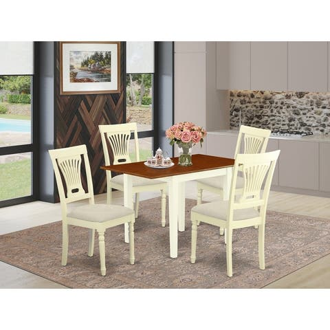 Small Dining Table and Dining Chairs with Linen Fabric Seat and Panel Back - Buttermilk and Cherry Finish (Pieces Option)