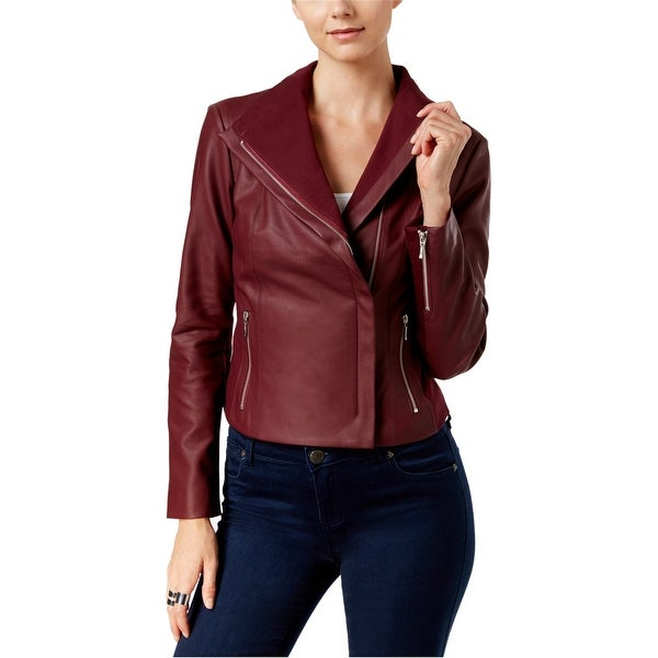 I-N-C Womens Faux-Leather Motorcycle Jacket, red, Small. Opens flyout.