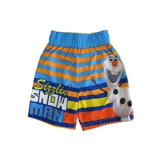 "Disney Little Boys Orange Blue Olaf ""Sizzlin' Snowman"" Swimwear Shorts"