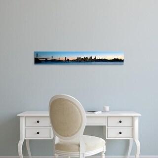 Easy Art Prints Panoramic Images's 'City skyline and bridge at dusk, Bay Bridge, San Francisco, California' Canvas Art