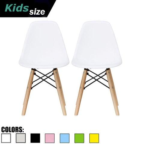 2xhome Set of 2 White Modern Plastic Wood Chairs Natural Wood Kids Children Child Activity Daycare School Kingergarden