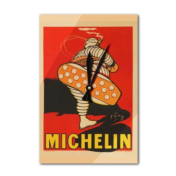 Michelin (kicking) (artist: O'Galop) France c  1913 - Vintage Poster  (Acrylic Wall Clock) - Acrylic Wall Clock