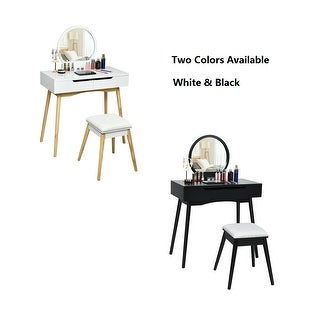 Gymax Makeup Vanity Table Set w/Round Mirror & 2 Sliding Drawers Dressing Table Black/White