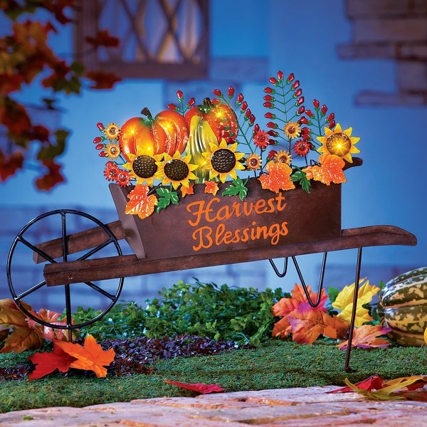Autumn Harvest Wheelbarrow Yard Stake. Opens flyout.