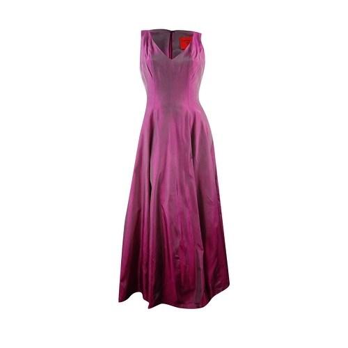 c728abd7ba228 B Michael Women's V-Neck Stiff Taffeta Long Gown - Purple
