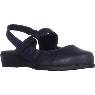 Easy Street Chessa Slingback Mary Jane Flats, Navy - 7.5 w us