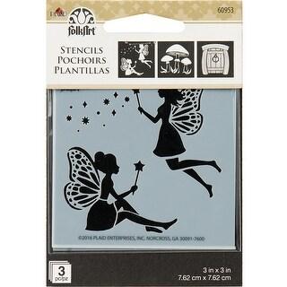 """Folkart Mini Stencil 3""""X3"""" 3/Pkg-Fairy & Mushroom"""