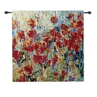 "Red Poppy Field Cotton Woven Wall Art Hanging Tapestry 35"" x 35"""