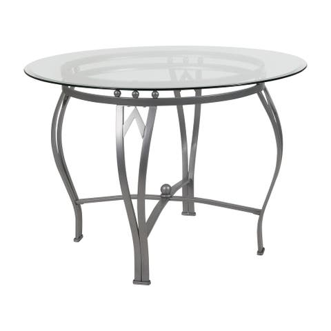 """42"""" Clear and Silver Round Glass Dining Table"""