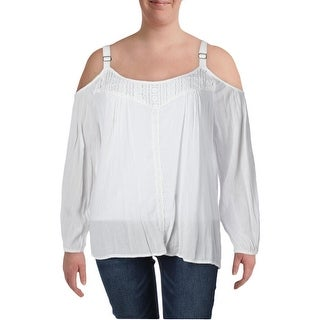 Jessica Simpson Womens Plus Rose Casual Top Crinkled Cold Shoulder