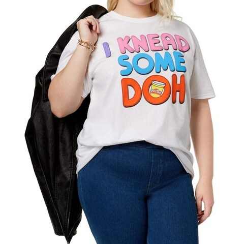 """Play-Doh White Women Size 2X Plus """"I Need Some Doh"""" Graphic Print Blouse 234"""