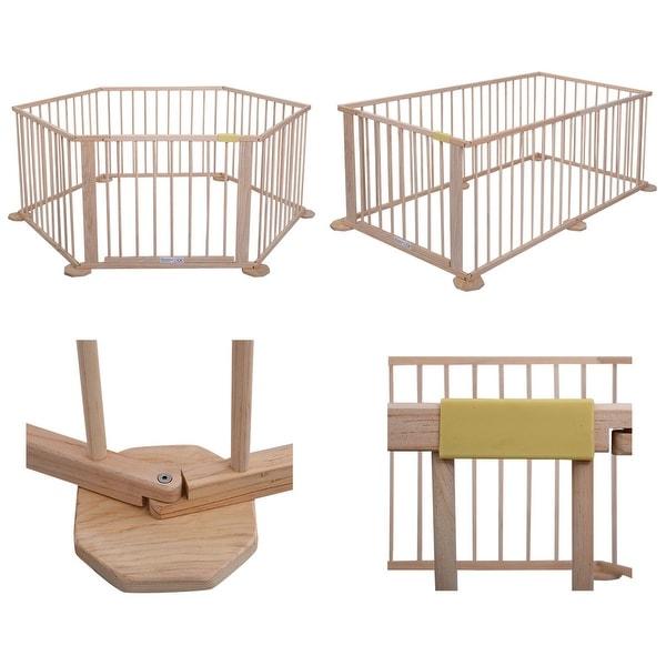 Costway Baby Playpen 6 Panel Foldable Wooden Frame Kids Play Center Yard Indoor&Outdoor