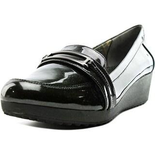 Easy Spirit Kepler Women Open Toe Patent Leather Black Wedge Heel