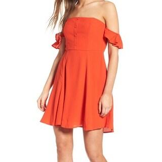 ASTR Womens Medium Off Shoulder Fit & Flare Sheath Dress